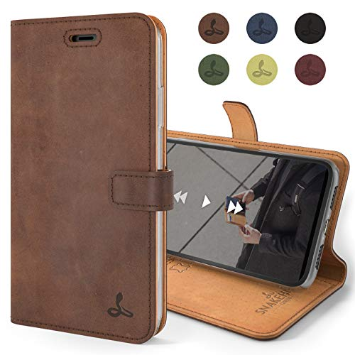 Snakehive Vintage Wallet for Apple iPhone 11 || Real Leather Wallet Phone Case || Genuine Leather with Viewing Stand & 3 Card Holder || Flip Folio Cover with Card Slot (Brown)