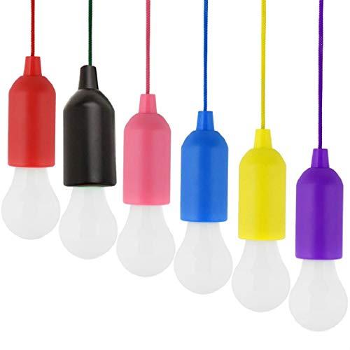 Mishiner 6 Stück farblich Sortiert Zugschnur Licht, Zugschnur Glühbirne batteriebetrieben LED-Zugschnur dekorative Hängeleuchte für Gartenparty Kleiderschrank Schrank BBQ Wandern Angeln
