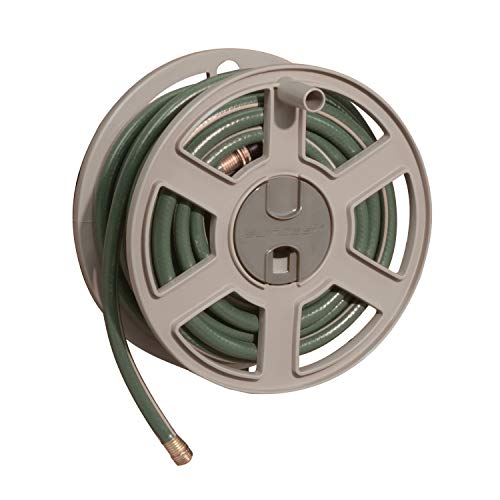 Suncast Sidetracker Garden Hose 100 ft Wall Mounted Tracker with Removable Reel Fully Assembled feet Taupe