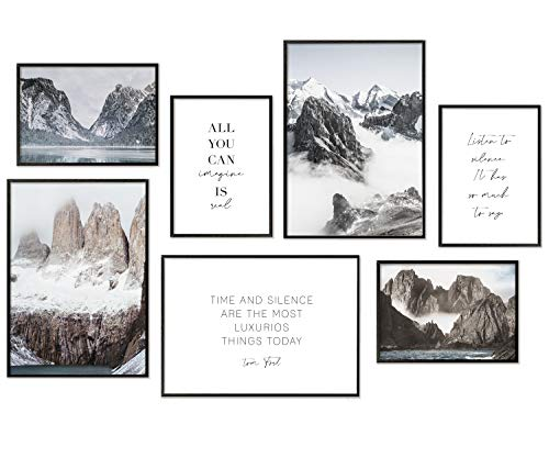 Hyggelig Home Premium Poster Set - 7 passende Bilder im stilvollen Set als Wohnzimmer Deko - Collage Wand Bild Schlafzimmer Flur Natur Berge - 3 x DIN A3 + 4 x DIN A4- Natur - ohne Bilderrahmen