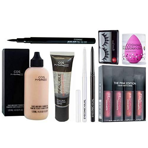 Professional Cos Mac Face And Body Foundation, Infallible Face Primer, Sketch Eyeliner, Black And White Kajal, The Pink Edition Mini Lipstick (Pack Of 4), Eyelashes And Blender. Combo (Set Of 8)