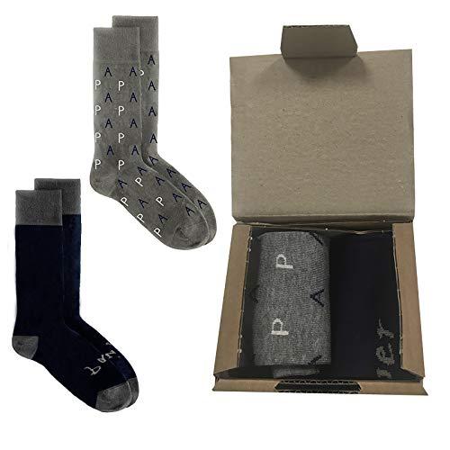 MIMUSELINA Calcetines día del padre, Pack dos pares de calcetines originales para regalar a papa, calcetín súper papá