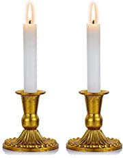 Sziqiqi Juego de 2 Candelabros de Metal Portavelas Oro para Comedor Mesa de Centro de Mesa Boda Decoración, Antiguo Shabat Set de Velas para Decoración de Ventanas y Manto, S + S