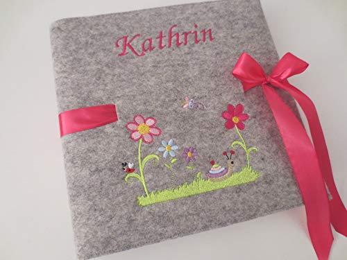 Fotoalbum Kind/Baby Album Name Schnecke Junge Mädchen Geburt Wollfilz 24,5 cm x 25 cm