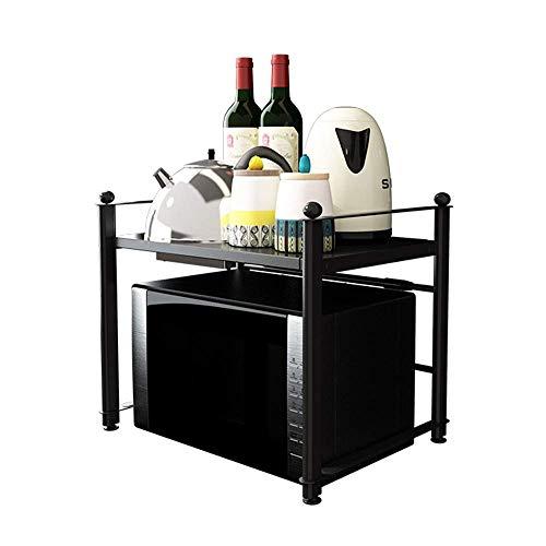 Tokyia Ständer Mikrowelle Schwarz Küche Storage Shelf Desktop-Mikrowellenherd Ofen Boden Boden Haushalt Abstellflächen Mikrowelle Lagerwagen (Farbe: Schwarz, Größe: 60 x 36 x 42cm)