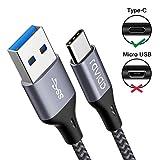 Câble USB Type C à USB 3.0, RAVIAD 3M Câble USB C Charge Synchro Ultime Rapide Nylon Tressé Chargeur USB C Connecteur pour Samsung Galaxy S10/ S9 / S8, Huawei P30/ P20, Sony Xperia XZ - Gris