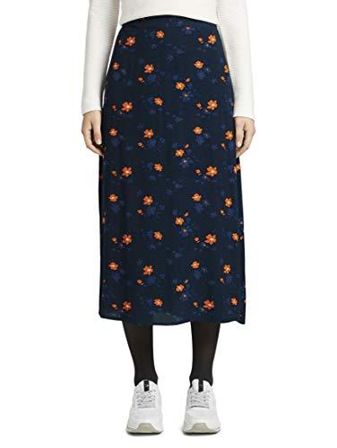 TOM TAILOR Damen Röcke Midirock mit Blumenmuster Navy orange Flower Design,42,21169,6000