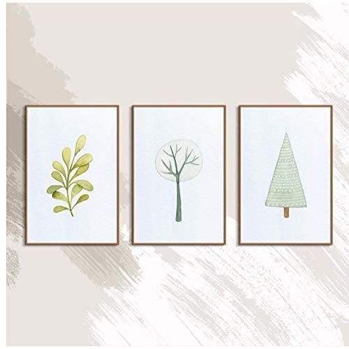 Simplicidad nórdica árbol ciervo Precioso lienzo impreso en la pared decoración del hogar arte -40x60cmx3 sin marco