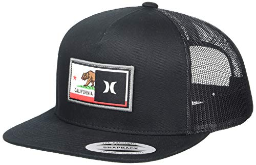 Hurley Men's Destination Flat Bill Trucker Baseball Cap Hat, Black/Black (USA), One Size