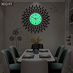 Fleble 23.6 inch Large Wall Clock Digital Glow in The Dark Non Ticking Black Night Light Dial Clock Decorative for Living Room,Bedroom,Office,Coffee