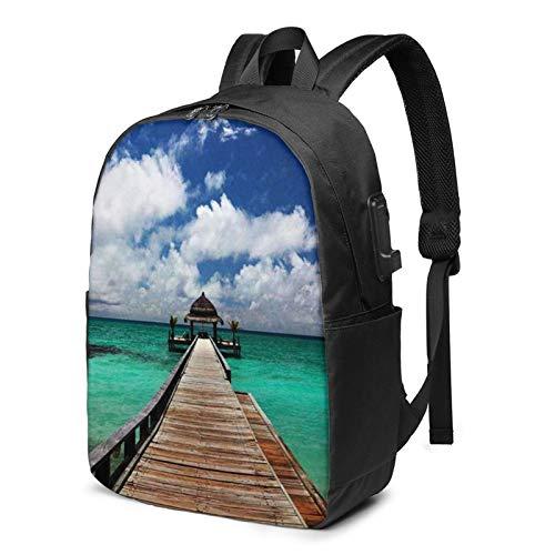 WEQDUJG Mochila Portatil 17 Pulgadas Mochila Hombre Mujer con Puerto USB, Maldivas 32 Mochila para El Laptop para Ordenador del Trabajo Viaje