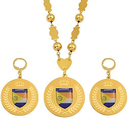 LLJHXZC Collar Conjuntos de Joyas Colgantes de Acero Inoxidable Collares Pendientes Cadena de Bolas Redondas Joyas de Marshallese