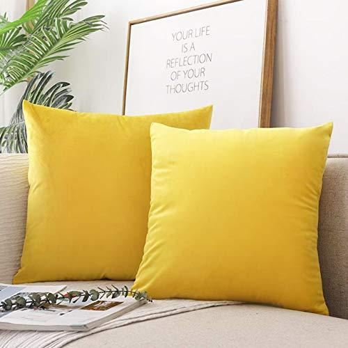 Emooqi Juego de 2 fundas de cojín decorativas de terciopelo, con cierre de fricción oculto, 45 x 45 cm, color amarillo limón