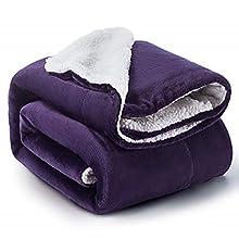 Bedsure Manta Cama 90 Invierno - Manta Sofa Grande Polar Reversible de Franela y Sherpa, Manta Sofa Gruesa 150x200 cm de Microfibra Suave y Borreguito, Violeta
