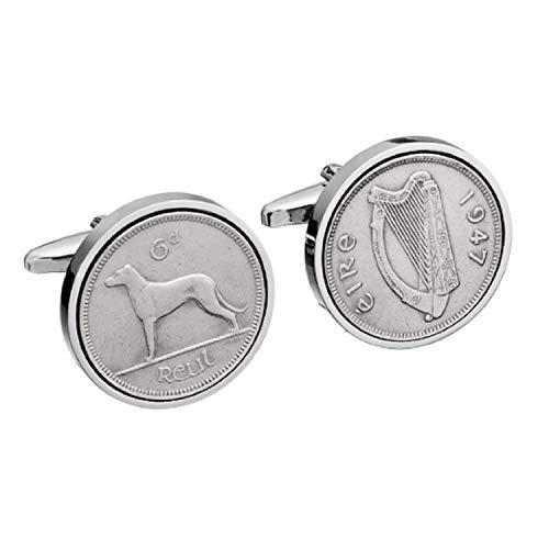 1947 irlandais Coin Boutons de manchette Boutons de manchette - Véritable pièce de six pence Irlande 1947