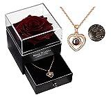 Konservierte Rose mit Liebe Sie Halskette 100 Sprachen Halskette Geschenkset, Verzauberte echte Rose Ewige Rosenblume für Freundin Frau am Valentinstag, Geburtstag, Muttertag (Weinrot)