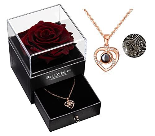 Erhaltene echte Rose, die für Immer mit Halskette, Geschenk für Valentinstag Hochzeitstag Geburtstag für sie / Frauen / Freundin /Mama (Weinrot)