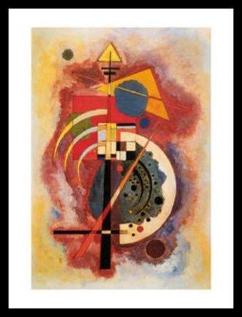 Kandinsky Homage a Grohmann Poster Kunstdruck Bild im Alu Rahmen in schwarz 80x60cm