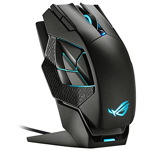 ASUS ROG Spatha X - Souris gaming sans fil (base de chargement magnétique, 12 boutons programmables, 19000 DPI, socket Push-Fit exclusif pour switches, ROG Micro Switches, ROG Paracord, Aura Sync RGB)