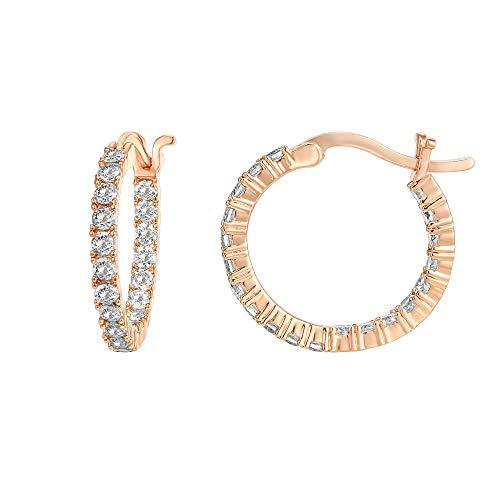 PAVOI 14K chapado en oro 925 pendientes de plata de ley Pon Cubic Zirconia aro | Los aros de oro rosa