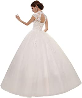 Sweetheart Lace Appliques Backless Beaded Ball Gown Wedding Dress