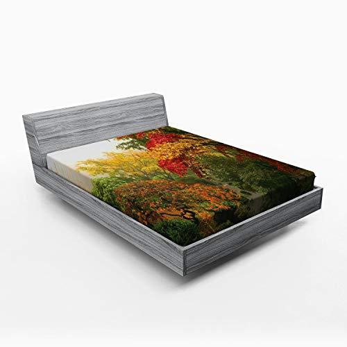ABAKUHAUS Tuin Hoeslaken, Portland Japan Garden, Zachte Decoratieve Stof Beddengoed, Elastische Band Rondom, 150x 190 cm, Rood Geel Groen