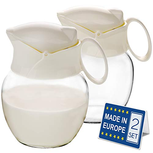 Crystalia Creamer Pitcher with Handle and Lid, Small Glass Body