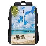 Alvaradod Sac à dos pour ordinateur portable de voyage,plage publique à Grand Baie sur l'île Maurice,sac d'ordinateur antivol d'affaires mince et durable avec port de chargement USB