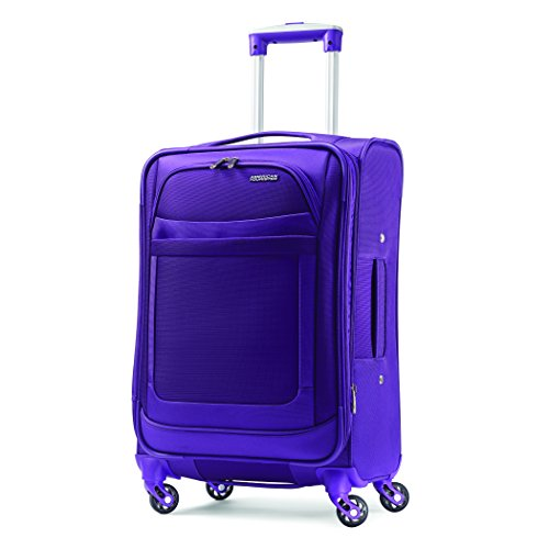 American Tourister iLite Max Softside Luggage With Spinner Wheels, Purple, Checked-Medium 25-Inch