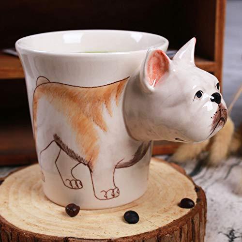 GLHT 3D Creativo Taurino Taza De Cerámica Animal De Dibujos Animados Dibujado A Mano Perro Taza De Café C
