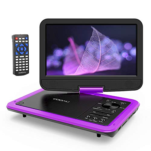 COOAUポータブルDVDプレーヤー12.5型大容量充電式バッテリー5時間連続再生10.5インチ大画面高画質液晶270°回転小型軽量携帯式車載リージョンフリーCPRMディスク/USBメモリー/SDカード対応テレビ同期可能リモコン日本語説明書付き一年保証紫
