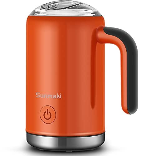 Montalatte Elettrico 4 in 1 Schiumatore 500W 350ml, Sunmaki Schiumatore Spegnimento Automatico in Acciaio Inox Rivestimento Antiaderente per Caffè, Latte, Macchina per Cappuccino