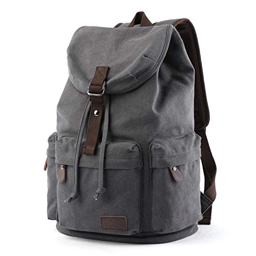 """Laptop Outdoor Backpack, Canvas Travel Hiking Camping Rucksack Pack, Casual Large College School Daypack, Book Bags Fits 15"""""""
