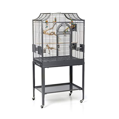 Montana Cages - Sittichkäfig, Käfig, Voliere, Vogelkäfig Madeira I - Antik mit Ständer & Anflugklappe, 69 x 45 x 141 cm