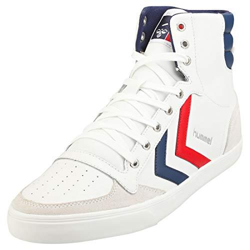 Hummel Slimmer Stadil Duo High Leather Sneaker weiß/blau, 46 EU - 11 UK - 12 US