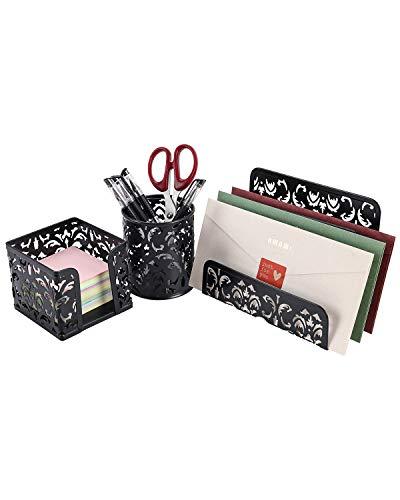 EasyPAG Desk Organizer Accessories Set 3-Piece Includes Letter Sorter, Pen Holder and Sticky Notes Holder,Black