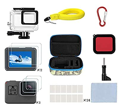 Kitspeed Accessories Kit for GoPro Hero 7 Black/(2018)/6/5, Including Waterproof case,Red Filter,Tempered Glass Film,Waterproof Camera Float,Anti-Fog Inserts, Shockproof Storage Bag by shen zhen shi hui na she ying qi cai you xian gong si