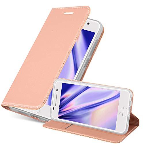 Cadorabo Hülle für HTC ONE A9 - Hülle in ROSÉ Gold – Handyhülle mit Standfunktion & Kartenfach im Metallic Erscheinungsbild - Hülle Cover Schutzhülle Etui Tasche Book Klapp Style