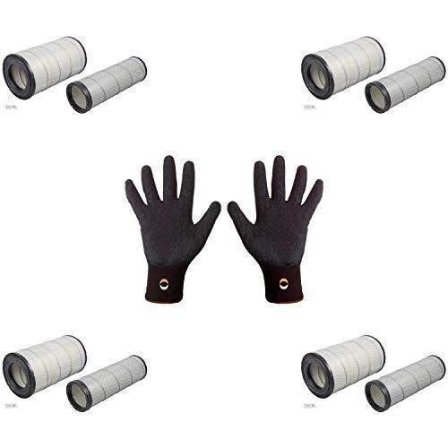 Febi Bilstein 100459 - Juego de filtros de aire con grasa y guantes de montaje (4 unidades, agarre fino, talla 9/L)