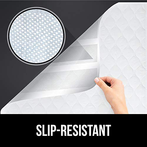GORILLA GRIP Slip-Resistant Leak Proof Mattress Pad Protector, 52x34, Absorbs 8 Cups, Oeko Tex Certified, Waterproof Bed Wetting Incontinence Cover, Washable Hospital Grade Pads for Toddlers, Elderly