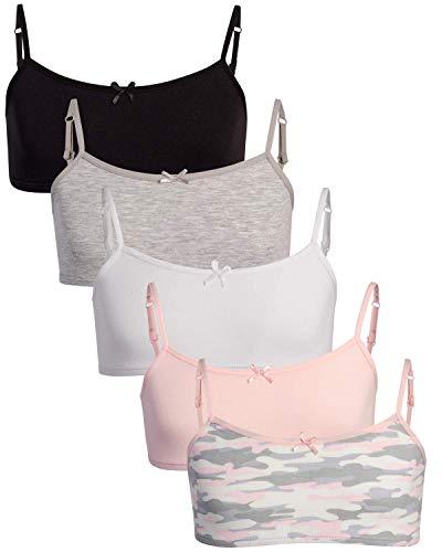 Rene Rofe Girls Cotton Spandex Cami Crop Training Bra with Adjustable Straps (5 Pack) (Camo, Large)