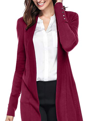 Spicy Sandia Women's Open Front Lightweight Knit Cardigans Long Sleeve Sweaters, Rose, Large