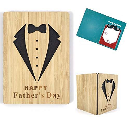 Tarjeta del día del padre, tarjeta de felicitación de madera de bambú real, tarjeta de cumpleaños para papá, tarjeta de regalo del día del padre con sobre