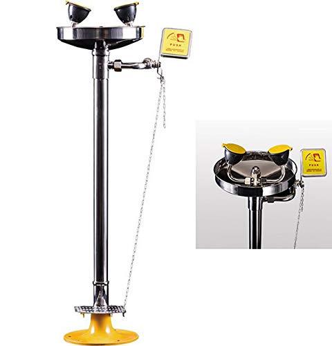 JL Safety Eye Wash Serie Tradicional Pedestal Mount, Estación Lavaojos de Emergencia, Todos los componentes de Acero Inoxidable 304 con Pedal