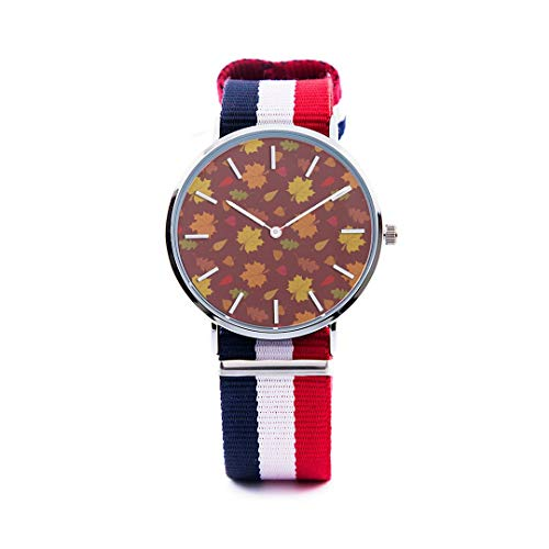 Unisex Fashion Watch Abstract Background Maple Leaf Aspen Leaf Pumpkin Autumn Design Print Dial Quartz Stainless Steel Wrist Watch with Nylon NATO Strap Watchband for Women 36mm Casual Watch -  NQEONR, 20190321-NylonWatch-346-517533748