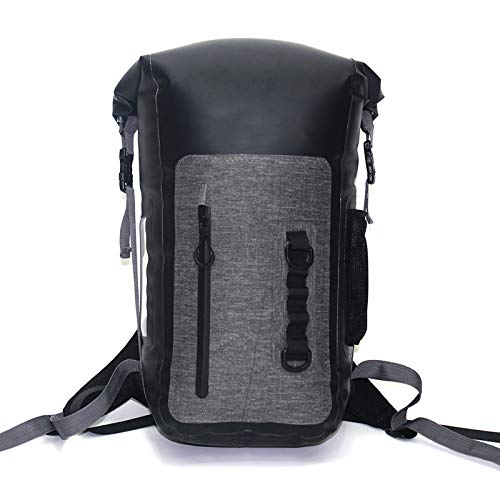 AIHOUSE Outdoor Waterproof Bag, 25L PVC Foldable Backpack Fully Sealed Bag Dry Bag, for Boating, Hiking, Rafting and Camping,Black