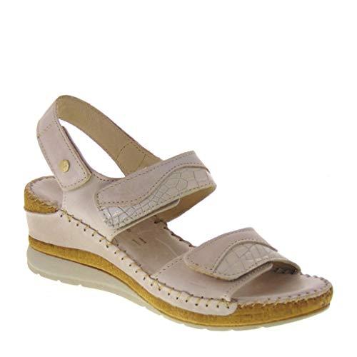 Riposella 11244 - Sandalias de mujer de piel beige ajustable