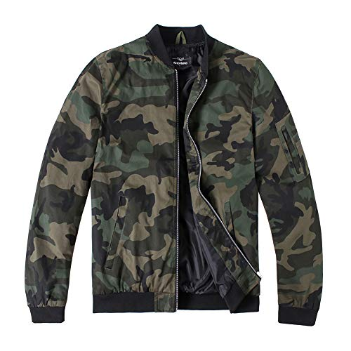 MADHERO Men's Bomber Jacket Camo Lightweight Outerwear(Camo-3,Large)