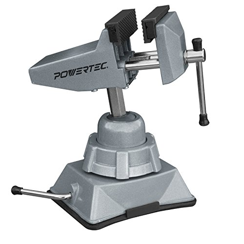 "POWERTEC 71016 Vacuum Base Vise - 2-¾"" Jaw - Portable - Multidirectional - Die Cast Steel Parts - Rubber Jaw Covers"