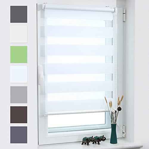 Grandekor Doppelrollo Klemmfix Duo Rollo ohne Bohren lichtdurchlässig und verdunkelnd Fensterollos Sonnenschutz für Fenster und Tür - Weiß - 70x120cm (BxH) / Stoffbreite 66cm